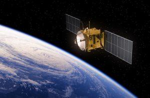 54410761 - communication satellite orbiting earth. realistic 3d scene.